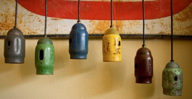 rustic hanging oxygen bottle cap lamps